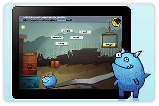 World's Worst Pet iPad app from i-Ready shows Snargg getting into trouble